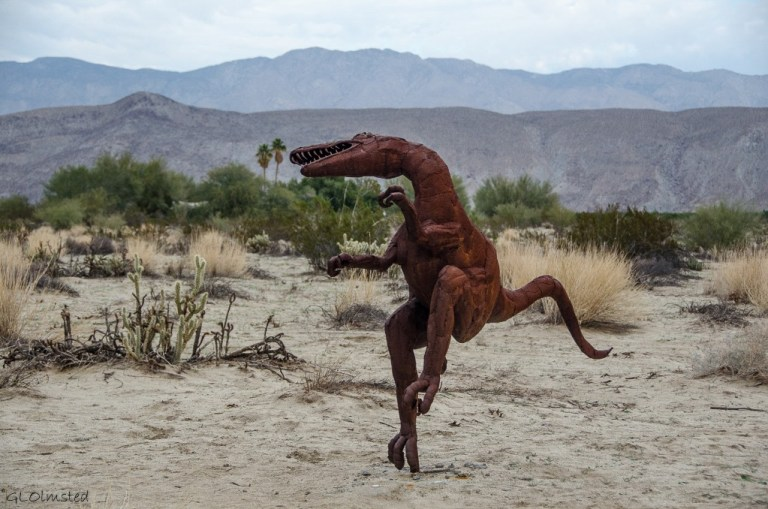 Velociraptor metal sculpture Galleta Meadows by Ricardo Breceda Borrego Springs California