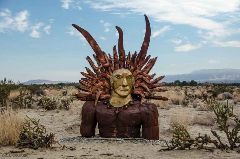 Indian Head metal sculpture Galleta Meadows by Ricardo Breceda Borrego Springs California