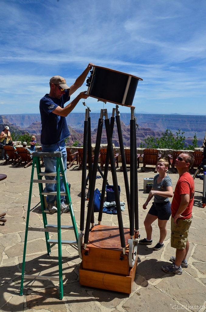 Setting up telescopes Lodge veranda Star Party North Rim Grand Canyon National Park Arizona