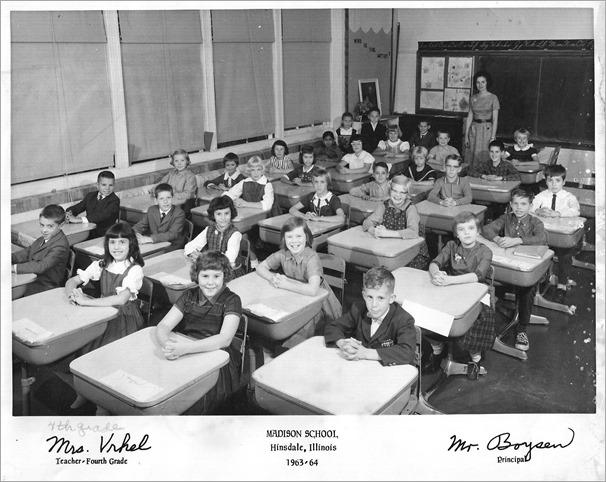 Madison School 4th grade class 1963-1964 Hinsdale Illinois
