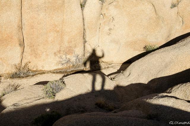 Gaelyn's shadow against boulders Jumbo Rocks campground Joshua Tree National Park California