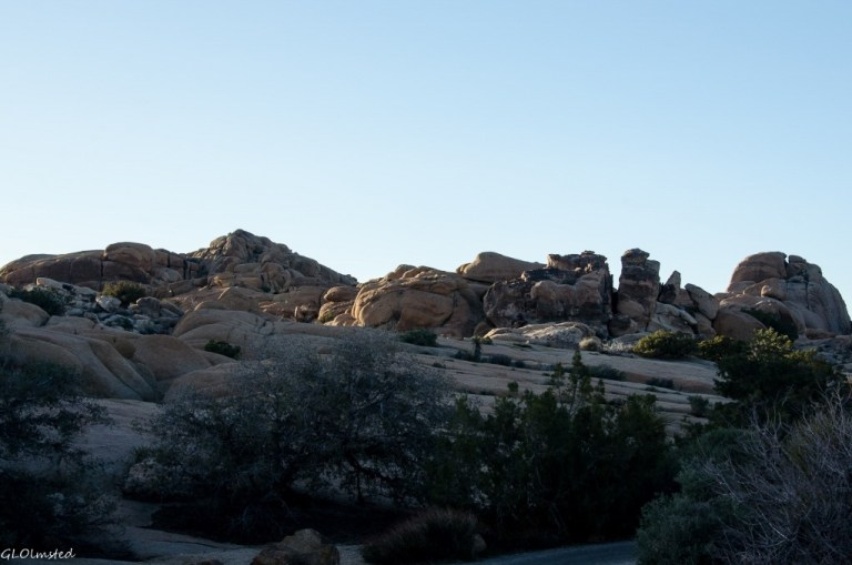 Last light on boulders Jumbo Rocks campground Joshua Tree National Park California
