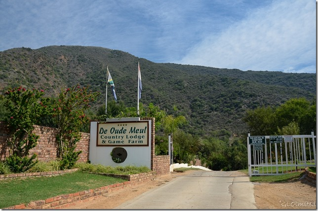 Entrance signs at Old Mill Lodge Outdshoorn South Africa