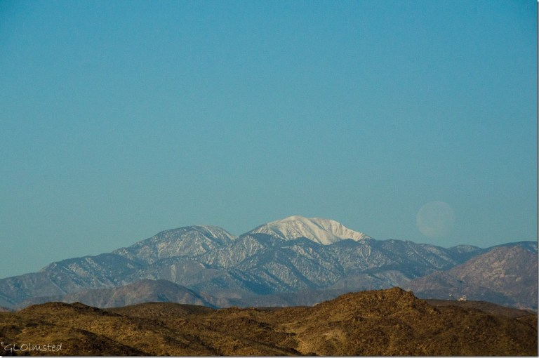 Morning view of San Jacinto Peak with setting moon BLM Joshua Tree California