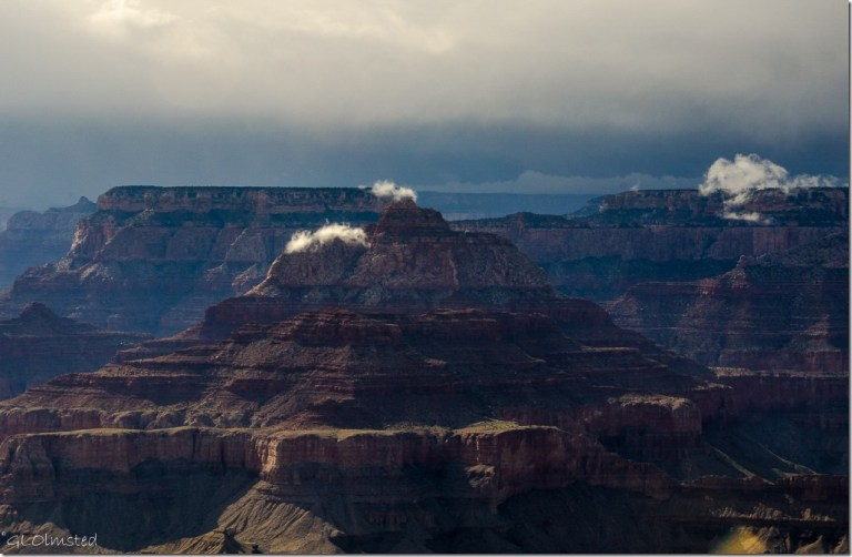 Cloud tipped temples Lippan Point South Rim Grand Canyon National Park Arizona