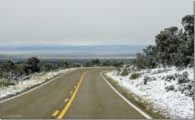Snow & low cloud SR89A N Kaibab National Forest Arizona