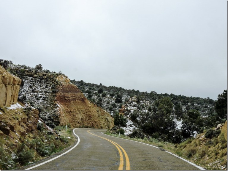 Snow patches SR89A N Kaibab National Forest Arizona