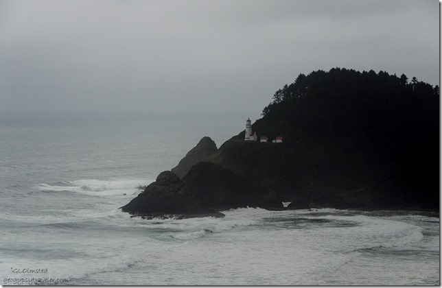 Heceta Head Lighthouse from Sea Lion Point overlook US101 Oregon