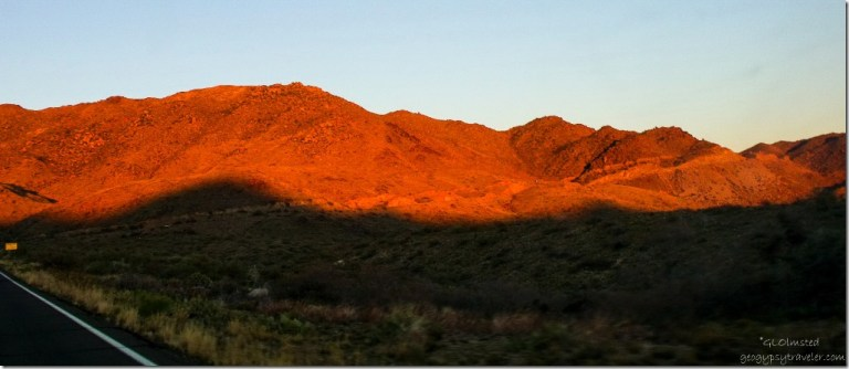 Last golden light on Weaver Mountains SR89 Arizona