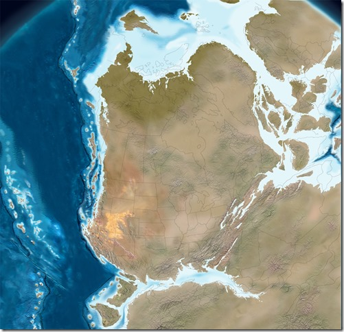 Early Jurassic 195 mya paleogeographic map North America