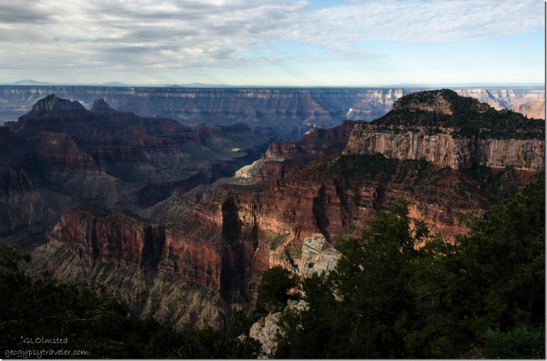 First light on canyon walls from Lodge North Rim Grand Canyon National Park Arizona