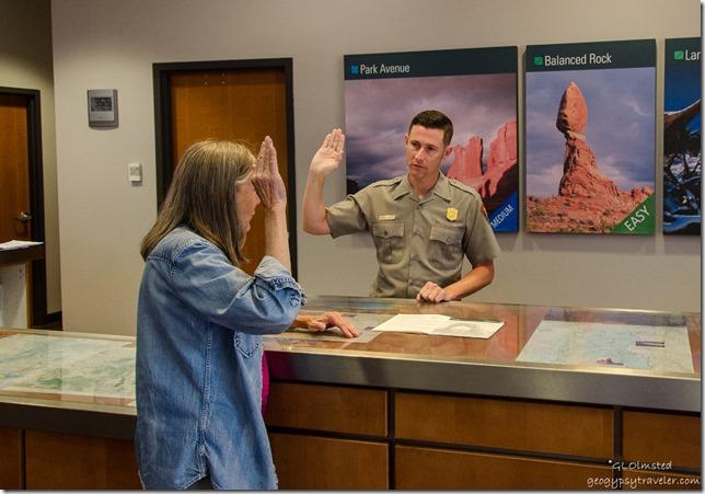 Gaelyn getting JR badge Arches National Park Utah