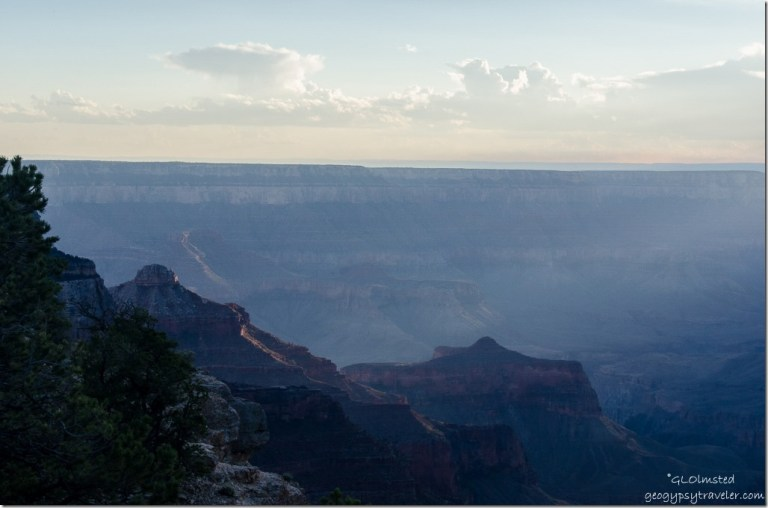 Last light on Angels Gate from Cape Royal North Rim Grand Canyon National Park Arizona