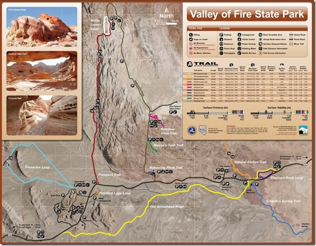 Trail map Valley of Fire State Park Nevada