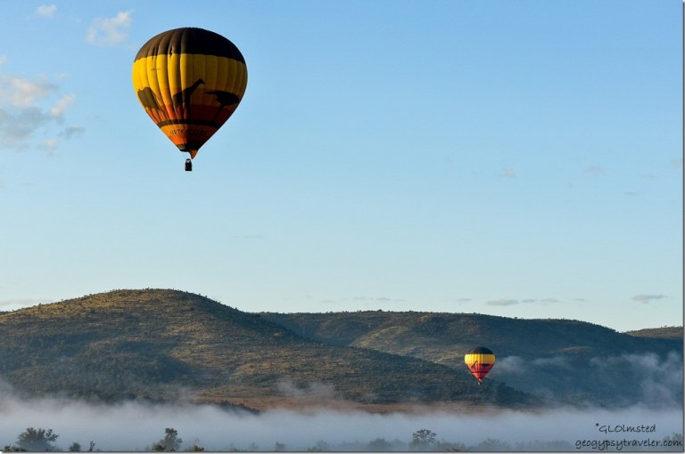 Misty morning hot air balloons Pilanesberg Game Reserve South Africa