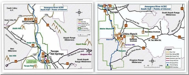Amargosa River Natural Area North & South maps