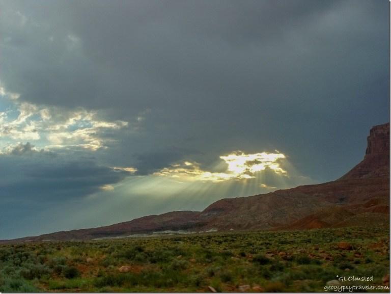 Stormy sky & sunrays over Vermilion Cliffs SR89A Arizona