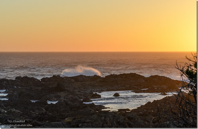 Sunset crashing waves on rocky coast Indian Ocean Tsitsikamma National Park South Africa