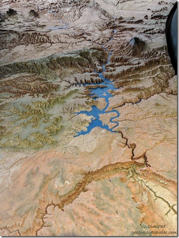 Lake Powel relief map Glen Canyon National Recreation Area Page Arizona