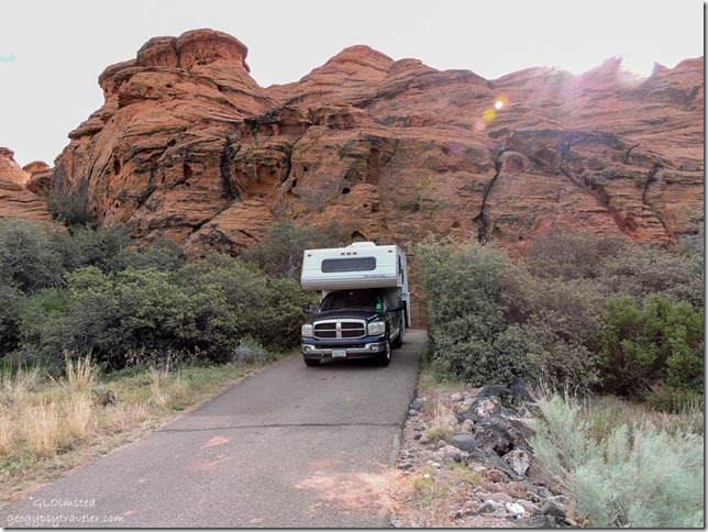 Truck camper in camp #21 Snow Canyon State Park Utah