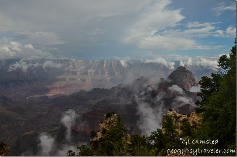 Clouds in canyon Walhalla overlook North Rim Grand Canyon National Park Arizona