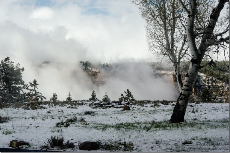 Snow & clouds in Transept Canyon thru RV window North Rim Grand Canyon National Park Arizona