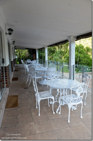 Porch dining at Old Mill Lodge Oudtshoorn South Africa