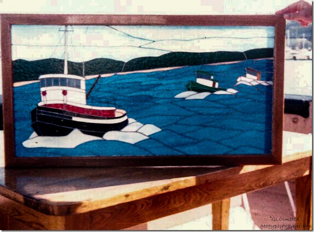 Stained glass Tugboat race Gift Seattle Washington