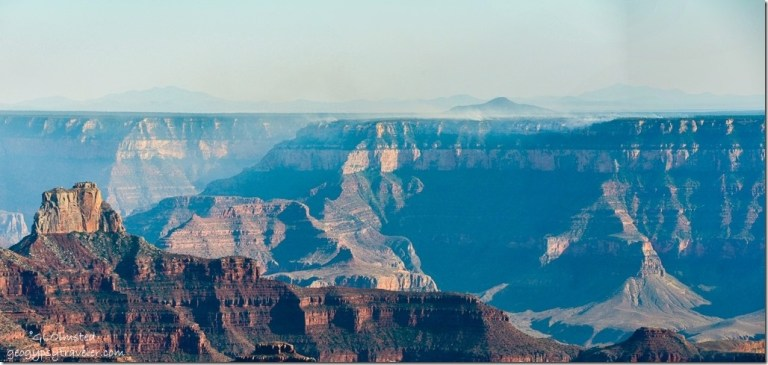 Smoke from prescribed burn on South Rim Shoshone Point North Rim Grand Canyon National Park Arizona
