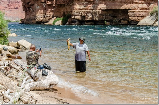 Couple fishing Colorado River Lees Ferry Glen Canyon National Recreation Area Arizona