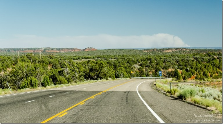 Smoke from Fuller Fire on Kaibab Plateau from SR89 S Utah