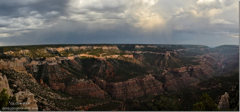 Stormy sky & last light against Rainbow Rim, Crazy Jug & Saddle Canyon Crazy Jug Point Kaibab National Forest Arizona