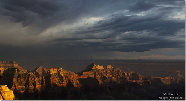 Last light stormy sky from Lodge North Rim Grand Canyon National Park Arizona