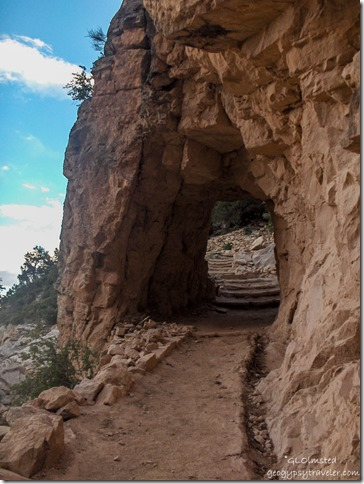 Tunnel along Bright Angel trail Grand Canyon National Park Arizona