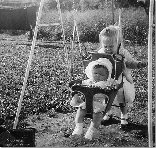 Gaelyn & Colleen Sept 1955 Spring Road Hinsdale Illinois