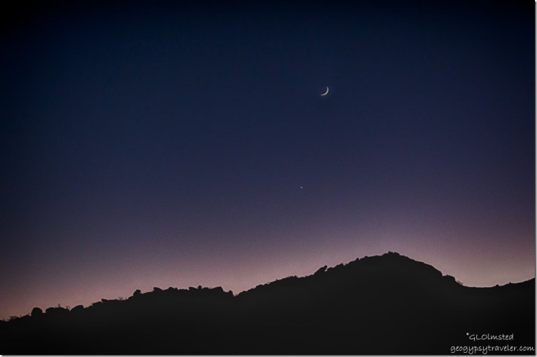 Crescent moon & Venus over Weaver Mountains Yarnell Arizona