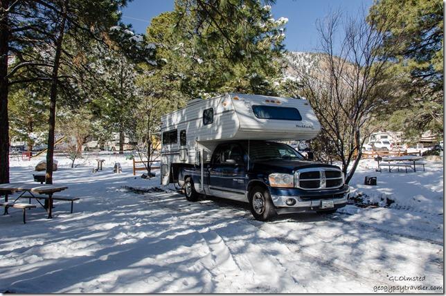 Truck camper snow KOA Flagstaff Arizona