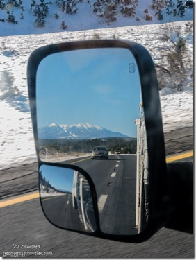 Side mirror Humphreys Peak I40 West Arizona