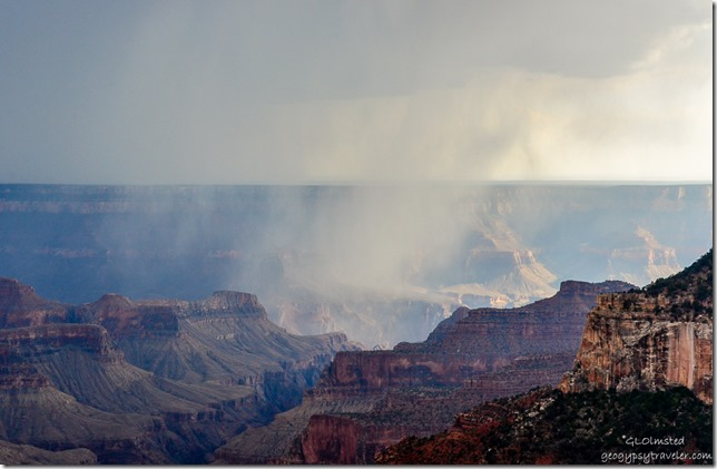Rain & light in canyon from Lodge North Rim Grand Canyon National Park Arizona