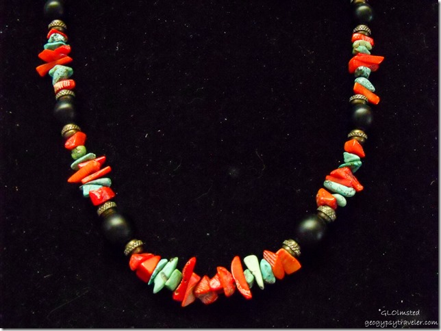 24in necklace coral, turquoise, Japanese glass