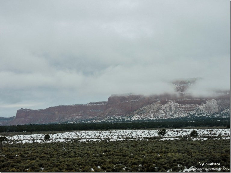Low clouds snow Vermilion Cliffs SR89 Utah