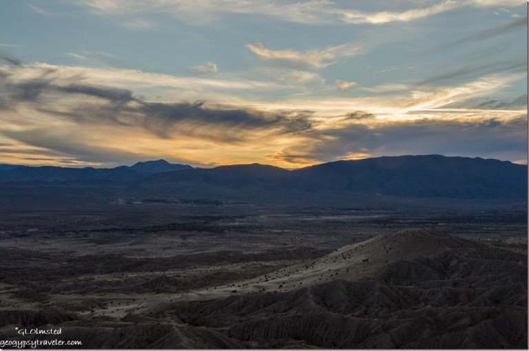 Sunset over San Ysidro Mts from Fonts Pt Anza-Borrego Desert State Park California