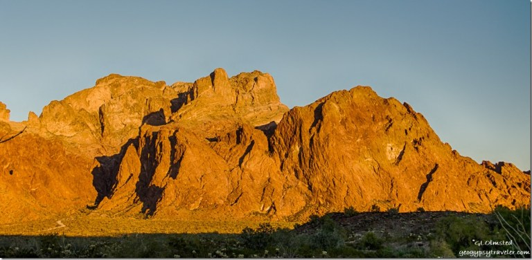 Last light KOFA Mountains Palm Canyon Road KOFA National Wildlife Refuge Arizona