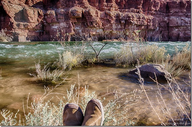 Gaelyn's feet Paria Riffles Colorado River Lee's Ferry Glen Canyon National Recreation Area Arizona