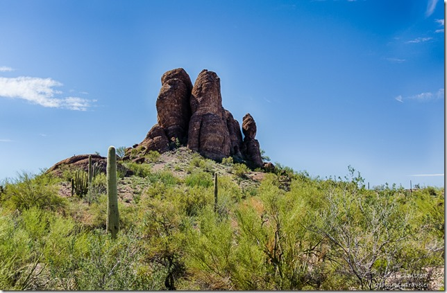 Twin peaks balancing rock Darby Well Road BLM Ajo Arizona