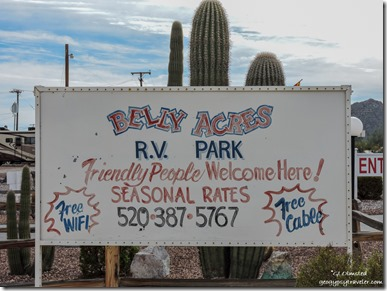 Sign Belly Acres RV Park Ajo Arizona