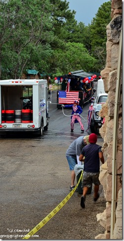Uncle Sam spraying Forever Resort truck & train 4th of July parade North Rim Grand Canyon National Park Arizona