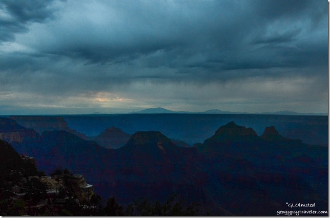 Stormy sunset over canyon from Grand Lodge North Rim Grand Canyon National Park Arizona
