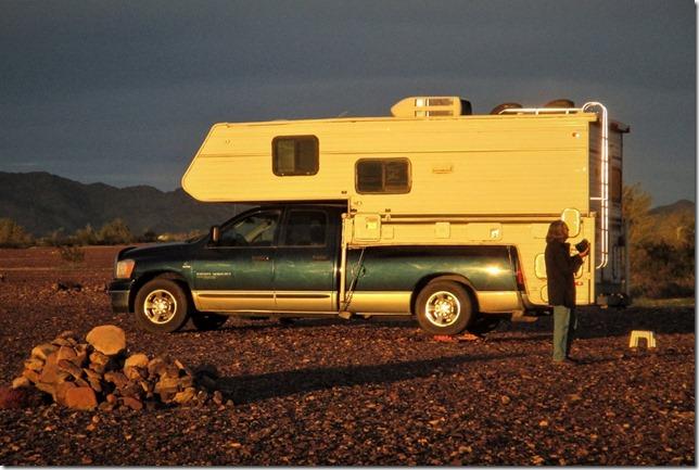 Gaeyn truck camper Plomosa Road BLM Quartzsite Arizona