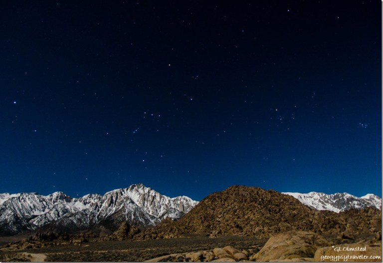 Orion Sierras Alabama Hills BLM Lone Pine California